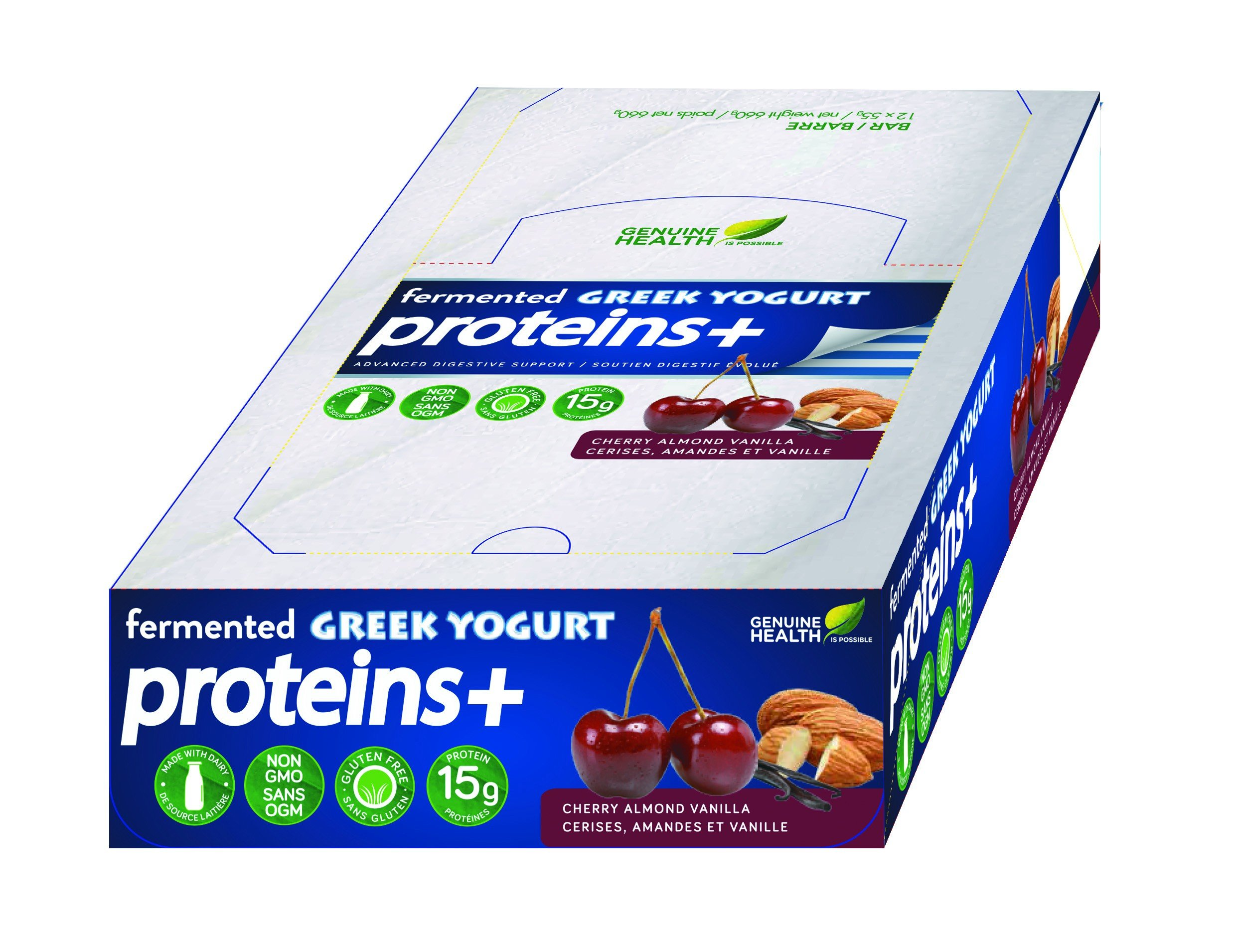Genuine Health Fermented Greek Yogurt Proteins+ Cherry Almond Vanilla Provides Extra Protein After Your Workouts And Digestive Support