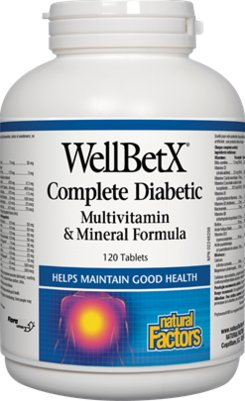 Natural Factors Well BetX Complete Diabetic Multi-Vitamin& Mineral Formula